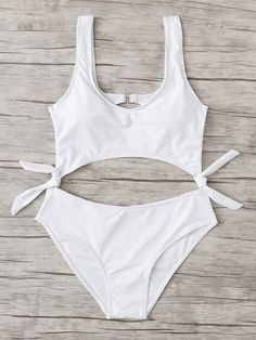 f6d51e46e1 Romwe Knot Cut Out Swimsuit Cute Swimsuits