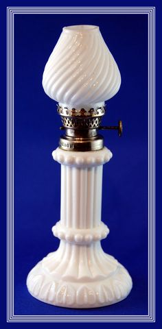 Hard to Find White Milk Glass Embossed Miniature Oil Lamp, H2 92 Made