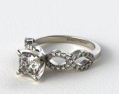 18K White Gold Pave Infinity Diamond Engagement Ring