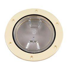 "Beckson 4"" Clear Center Screw-Out Deck Plate - Beige - https://www.boatpartsforless.com/shop/beckson-4-clear-center-screw-out-deck-plate-beige/"