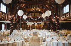 rustic stylish great fosters wedding barn decor fairy lights balloons http Wedding Reception Lighting, Wedding Venue Decorations, Wedding Table, Diy Wedding, Wedding Ideas, Fall Wedding, Wedding Favors, Easy Decorations, Marquee Wedding