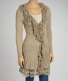 Look at this Simply Couture Oatmeal Wool-Blend Fringe Cardigan on #zulily today!