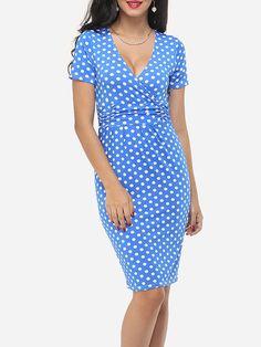 Polka Dot Captivating V Neck Bodycon-dress Only $20.95 USD More info...