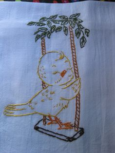 Yellow Canary Bird Swing and Chirping Soo CUTE Hand Embroidered Tea Towel