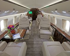interior of aircraft Fasnacht First Class Plane, Flying First Class, First Class Seats, Helicopter Private, Helicopter Charter, Private Plane, Luxury Jets, Luxury Private Jets, Contemporary Cabin