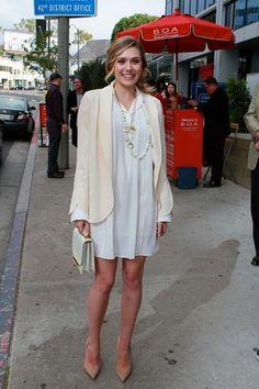 Elizabeth Olsen Shirtdress: Chloé Resort 2012.  Blazer: Chloé Spring 2012.  Bag: The Row.