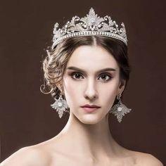 Vintage Wedding Bridal Crystal Queen Crown Headband Tiara Earrings Jewelry Set A #TiaracrownhairaccessoriesheadbandJewelrySet