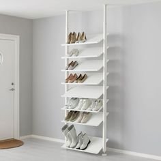 Add more storage space with ELVARLI Shelf unit, white. ELVARLI storage system adapts to your space. The open solution with durable bamboo shelves creates an attractive display of your belongings. Ikea Elvarli, Diy Shoe Rack, Shoe Shelf Diy, Shoe Racks, Wall Mounted Shoe Storage, Wall Shoe Rack, Shoe Storage Shelf, Shoe Wall, Wall Racks