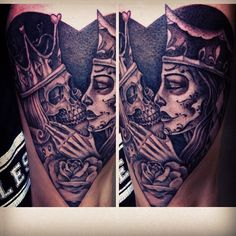King  Queen of Hearts Para Sempre Tattoos Porto More King Queen, Queen Of Hearts, Tattoo Queen Of Heart, King And Queen Of Heart Tattoo