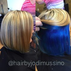 Love this peekaboo blue.  Highlights on top and vibrant blue on the bottom peeking through.