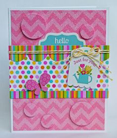 Chevron Cards: Yummy Enough to Eat - HELLO card by Aimee Kidd from Doodlebug Design Blog using their sparkling Sugar Coated Chevron Cardstock