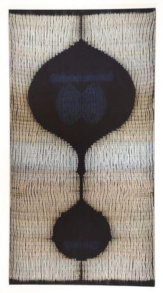 Frank Connet  Indigo and walnut dyes on wool using shibori sewn resist. Mounted on stretcher.