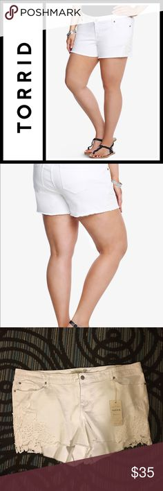 "Torrid White Wash with Crochet Lace NWT Torrid Skinny Short Shorts - White Wash with Crochet Lace new with tags! Size 26  Our White Label denim is casual American style - designed and fit just for you. It's authentic, lived-in fashion that's fun and sexy. Wear what you love.  Our short shorts have frayed edges with floral crochet lace seam insets. This white washed denim has a classic cut with a contemporary feel.     Mid-rise3 1/2"" 98% cotton; 2% spandex Wash cold, dry low torrid Shorts"