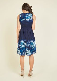 Captured Stature Floral Dress. A frock that highlights your timeless poise? #blue #modcloth