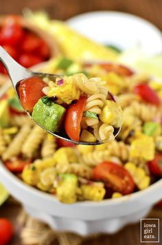Grilled Corn and Avocado Pasta Salad with Chili-Lime Dressing is an easy, gluten-free pasta salad recipe full of color and fresh flavor! | iowagirleats.com