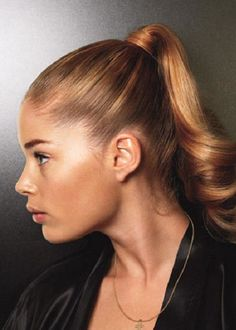super tight curled ponytail