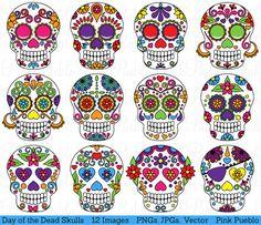 Día del cráneo muerto Clipart Clip Art azúcar por PinkPueblo