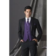 04657fce24f Purple Tuxedo Vest tie with black suit- David s Bridal has it where you can color  coordinate with the bridesmaid s dresses in Regency Purple.