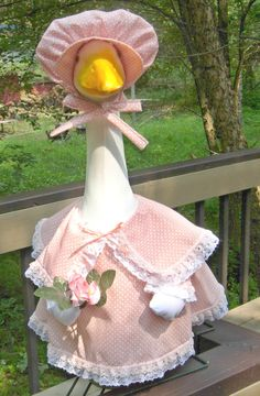 "Summer outfit peach with large collar for 24"" cement goose or plastic geese by KraftKorner on Etsy"