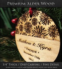 *This Our First Christmas Engaged Ornament makes a great keepsake gift for newly engaged couples & families! Our Alder wood is of higher quality compared to our competitors Baltic Birch Wood. You can choose what you want engraved (text) on it, just ask! :) wording can be changed.  ♥ Year- 2016 (unless otherwise noted) ♥  • • • • • • • • • • • • • • • • • • • • • • • • • • • • • • • • • • • • • LIMITED TIME [ P R O M O T I O N ]  Like or Heart this listing and receive a free gift box to go…