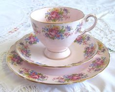 Gorgeous Vintage Pink Tuscan China Tea Trio with Floral Decoration