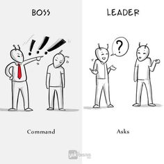 Honest Illustration That Show The Real Difference Between Boss And Leader Leader Vs Manager, Boss Vs Leader, Michael Scott, Leadership Activities, Leadership Roles, Business Illustration, Simple Illustration, True Quotes, Words Quotes