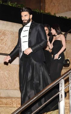 Ranveer Singh at the #GQAwards2016. Amazing mix of formal western and traditional Indian.