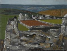 'VIEW OF THE COAST FROM ZENNOR, ST IVES' | Wilhelmina Barns-Graham: Signed and dated 1949, oil on canvas, 35 x 45.5cm; 14 x 18in. From the Bowie/Collector Part II: Modern and Contemporary Art, Day Auction | Sotheby's (11 November 2016, est 12-18,000)     ✫ღ⊰n