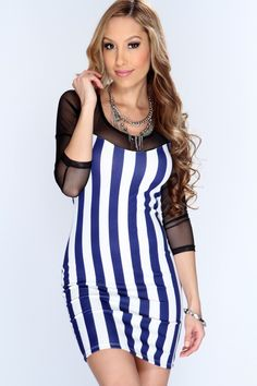 Take this trendy dress out for the night it accentuates your body and all eyes will definitely be on you! Pair it with your favorite heels and accessories for a complete look! This must have dress features striped pattern, cut out back, mesh quarter sleeves, and tight fitted. 92% Polyester 8%^ Spandex. Made in USA.