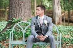 Saphire Estate | Lake Massapoag | Sharon, Massachusetts | Groom Grey Suit | White Rose Boutineer | Summer New England Photo | Lovely Valentine Photography