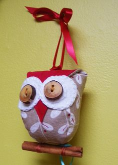 Small beige and red owl ornament with real by PantoufledeVerre, $22.00