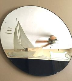 Vtg-Nautical-Ocean-Lake-Sea-Sailboat-Etched-Glass-Art-Deco-Frameless-Wall-Mirror