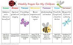Weekly Prayer Schedule for children
