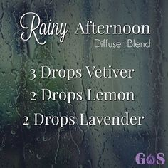 The combination of Vetiver, Lemon and Lavender in this Rainy Afternoon Diffuser Blend will help you relax on the perfect rainy day. #GotOilSupplies #DiffuserBlend #EssentialOils #FallTime #RainyAfternoon #DoTerra #YoungLiving