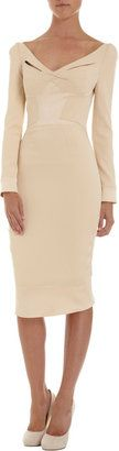Zac Posen Long Sleeve Wide V-Neck Dress at ShopStyle