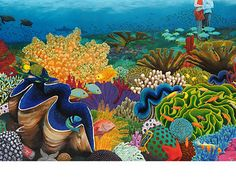 Coral Reef Print, tropical fish, Reef Madness, scuba, deep sea ...