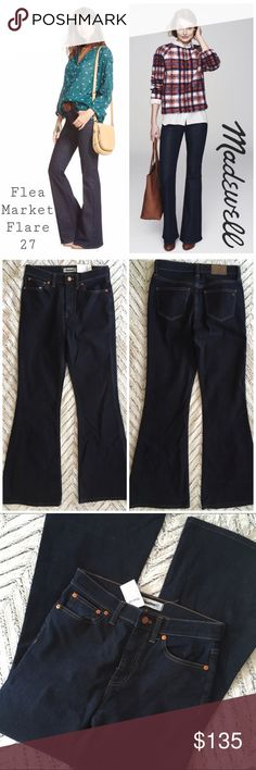 """NWT Madewell Flea Market Flares Kenner Wash 27 Madewell Flea Market Flare Jean Kenner Wash 27 NWT A deep indigo wash colors '70s-inspired flare jeans that hug through the hips before kicking out at the knee, creating an ultra-sleek, leg-lengthening look. 33 1/2"""" inseam; 23 1/2"""" leg opening; 11"""" front rise; 14"""" back Rise. ***Label marked through by manufacturer. Zip fly with button closure. Five-pocket style. 94% cotton, 5% polyester, 1% elastane. Machine wash cold, tumble dry low. By…"""