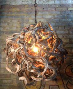 """Just made this """"Maduse"""" root ball pendant light. Love it. (Hate to sell it.)"""