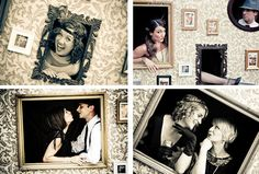 Create your own photo opp! Love the idea a photobooth with props to do something like this at my Engagement Party! People have a blast with photobooths! Prohibition Party, Speakeasy Party, Gatsby Themed Party, 1920s Party, Great Gatsby Party, Great Gatsby Decorations, Roaring 20s Theme, Juice Joint, Picture Wall