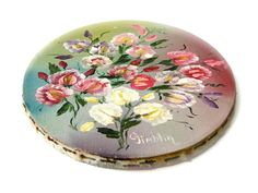 Oval Shaped Oil Painting Canvas Floral Cottage Chic Roses Unframed Vintage // Wall Hanging Home Decor 1930s by SueEllensFlair on Etsy