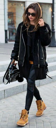 #fashion #timberland #boots Julietta Kuczyńska + Timberlands + jacket + leather leggings Blouse: Vintage, Coat: Stradivarius, Leggings: Agnieszka Maciejak, Vest: Zara, Shoes: Timberland.