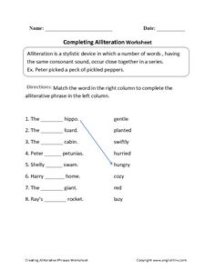 Creating Alliterative Phrases Worksheet | Great English Tools ...