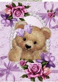Cute Fuzzy Bear in Bows and Pearls with Roses - Teddy Bear Cartoon, Teddy Bear Party, Cute Teddy Bears, Bear Images, Teddy Bear Pictures, Decoupage, Bear Wallpaper, Bear Art, Baby Scrapbook
