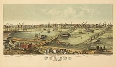 A 1876 bird's eye view map of Toledo Ohio would be interesting artwork for a small or large office https://www.etsy.com/listing/68509388/vintage-map-toledo-ohio-1876? #Ohio #