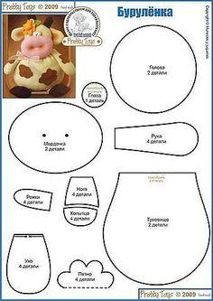 Animal Sewing Patterns, Felt Patterns, Stuffed Animal Patterns, Sewing Crafts, Sewing Projects, Cow Pattern, Free Pattern, Fabric Toys, Sewing Dolls