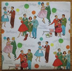 Vintage BIRTHDAY Gift Wrap Wrapping Paper MAD MEN Party Mid-Century Illustration 1950s 1960s