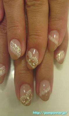 French lace beige nail obliquely Nudi