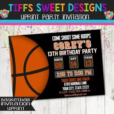 Basketball Party Basketball Invitation Must by TiffsSweetDesigns