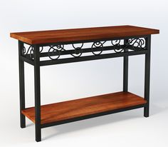 The Artesian Console Tables a classic style and will complement any décor. The Chestnut Finish finish & Metal Scroll Base provide a stylish element to your room. This piece fits perfect behide a sofa or is great for the Entry Way to add to your décor.