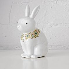 Shop Floral Fauna Night Light (Bunny).  These animal nightlights are not only ready to cast a soft glow in your kids room or nursery, but they also come bearing gifts.  Each porcelain character is adorned with colorful floral details.